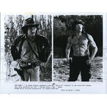 1990 Press Photo Weird Al Yankovic does parodies of Indiana Jones and Rambo