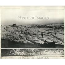 1930 Press Photo Paige Expedition Point Barrow Alaska Battling Heavy Ice