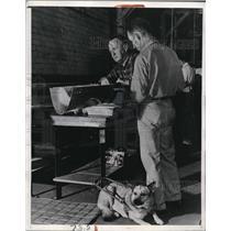 1942 Press Photo 2 of 13 Blind Men Working at Lockheed Aircraft Plant Burbank CA
