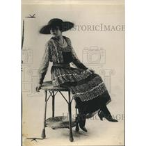 1918 Press Photo Afternoon Dress of Satin With Drop Over of Foulard & Voile