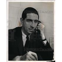 1966 Press Photo Geroge Bisacca on phone in Fairfield Public Relations office