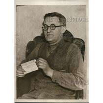 1933 Press Photo David Feins won $500,000 in Cuban Sweepstakes