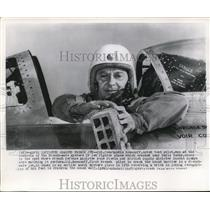 1952 Wire Photo Col Constantin Rozanoff at control of French Mystere IV jet