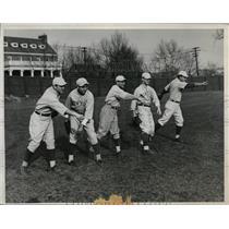 1934 Press Photo NYU baseball coach William McCarthy, Al Telese, Bill Gottlieb