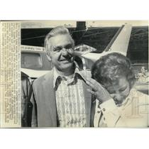 1971 Wire Photo Mrs. Marie Long wipes away a tear after saying goodbye