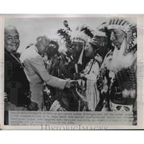 1952 Press Photo New Mexico Indian tribal chiefs Inter Indian Cewremonial