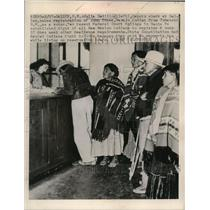 1948 Press Photo Julia Sedillos takes registration of John Tdaea a Navajo Indian