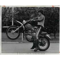 1974 Press Photo Motorcyclist Doing Wheelie Trick