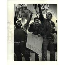 1983 Press Photo The anti Communist demonstration on St. Clair Jeer Communists