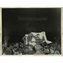 1933 Press Photo Bonus Army display burned American Flag at Anacostia.