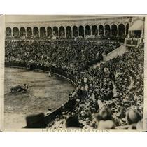 1930 Press Photo Lady bull & toreador at Seville Spain bull fights - nes40251