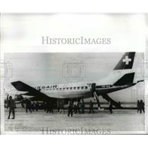 1940 Press Photo Hijacked Swissair plane at Dawson's Field in Jordan