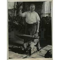 1932 Press Photo Simon McDonald Official Village Blacksmith in San Francisco
