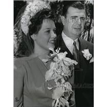 1941 Press Photo Ken Murray and Cleatus Caldwell Wedding