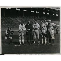 1934 Press Photo U of PA baseball coach Cariss, Ray Magarigal, Don Kellet