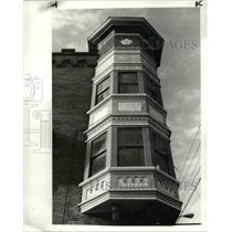 1983 Press Photo Victorian Turret on the Broadway Auto Supply Co Building