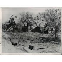 1950 Press Photo Dunbar Nebraska farms wrecked in flash floods & winds