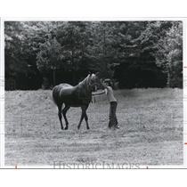 1978 Press Photo Gerolyn Sweeney at the stables at Brecksville, Metropark