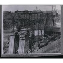 1910 Press Photo Construction of Monroe Street Bridge looking north - spa00454