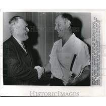 1951 Wire Photo Rogers Hornsby of baseball with Bill Veeck of St. Louis Browns