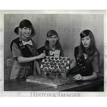 1969 Press Photo Girl Scouts Laurie Dignan, Nancy Bristow and Kim Newman