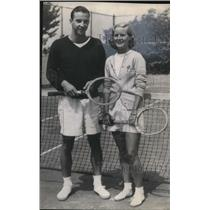 1946 Press Photo Billy Ford and Martha Firestone Play Tennis - cva96259