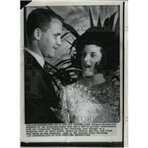 1966 Wire Photo Luci Johnson talks with fiance Pat Nugent at the reception