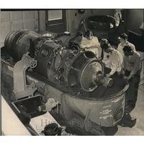 1958 Press Photo Benson Polytechnic High School owns a turbo prop aircraft engin