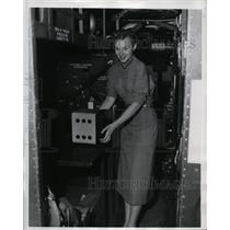 1953 Press Photo Patsy Scott & Airborne Recorder by North American Aviation Inc