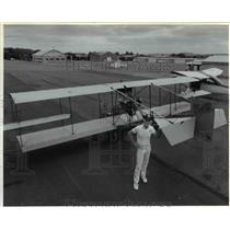1992 Press Photo Curtiss Pusher aircraft, re-enact Portland's 1st airmall flight