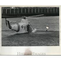 1967 Press Photo Method of Coast Guard rescue employs use of steel platform
