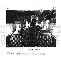 1990 Press Photo Flight Attendant Shirley Martin is proud of interior décor.