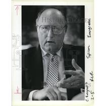 1988 Press Photo William V Spicer president since 1982 of Evergreen Internationa