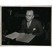 1934 Press Photo Capt Eddie Rickenbacker War Pilot Testifying Senate Committee