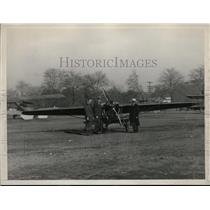 1928 Press Photo Capt AET Bruce, VC Babcock & CK Wollam in Front of Plane