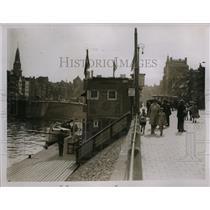 1929 Press Photo Passenger craft on canals of Amsterdam Holland - nex98721