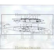 1961 Press Photo Drawing of a B-58 teo component Pod cy Convair - neb39675