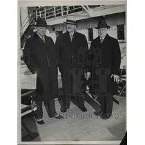 1934 Press Photo David Smyth JAcob Seeds Edwin Cox aboard Santa Lucia