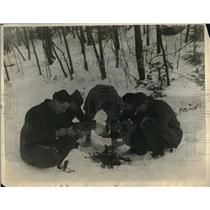 1925 Press Photo Camping During Snowy Weather