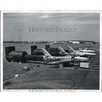 1956 Press Photo F-84 Thunderstreaks during engine tests - neb42807