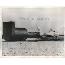 1956 Press Photo Republic RF-84F Thunderflash backed into new muffler