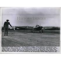 1955 Press Photo Mrs Zaddie Bunker takes off in plane at DC for air race