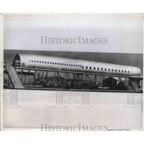 1955 Press Photo Full scale wooden mockup of DC-8 fuselage - neb40088