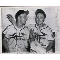 1945 Press Photo Cardinals George Kurowski & Buster Adams Happy After Homeruns