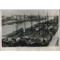 1932 Press Photo Ruhrport as the Rhine Fleet sits in port during depression