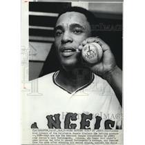 1970 Press Photo California Angels Outfielder Alex Johnson Displays Average
