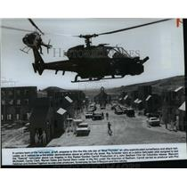 Press Photo Camera team film Blue Thunder a sophisticated attack helicopter