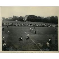1928 Press Photo English vs American All Stars field hockey at Haverford PA