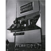 1969 Press Photo Confiscated still decorates gateway of North Carolina scouts
