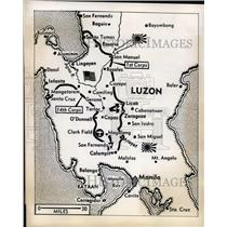 1945 Press Photo Map shows US drive towards Manila on Luzon in Baguio area